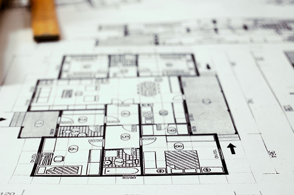 Architecture planning of interiors designe on paper with metre, DOF is shalow
